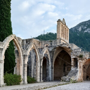 Ruins in the Bellapais Abbey monastery in Northern Cyprus - Starpik Stock