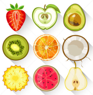 Set of fruits and vegetables. Apple, kiwi, orange, strawberry, avocado, pear pineapple and guava Vector - Starpik Stock