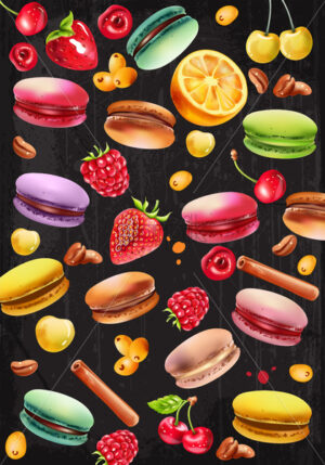 Set of macarons, raspberry, strawberry, white and red cherries, coffee beans, cinnamon sticks and pyracantha berries. Vector - Starpik Stock