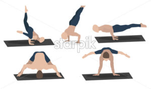 Set of young man performing yoga poses in blue sport clothes. Vector - Starpik Stock