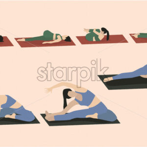 Set of young woman performing yoga poses in blue and green sport clothes. Vector - Starpik Stock