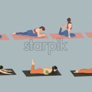 Set of young woman performing yoga poses in blue and red sport clothes. Vector - Starpik Stock