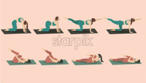 Set of young woman performing yoga poses in green and red sport clothes. Vector - Starpik Stock