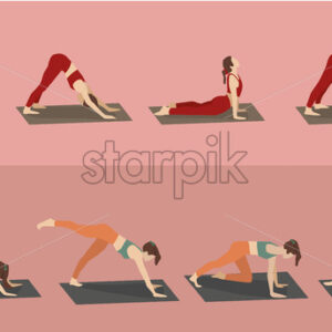Set of young woman performing yoga poses in red and orange sport clothes. Vector - Starpik Stock