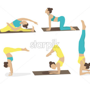 Set of young woman performing yoga poses in turquoise and yellow sport clothes. Vector - Starpik Stock