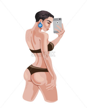 Sexy young girl in underwear taking a photo of her back. with smart phone. Vector - Starpik Stock