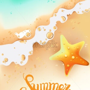 Summer composition with seashore and sea star. Waves coming. Vector - Starpik Stock
