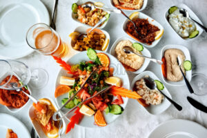 Table full of exotic food in Cyprus - Starpik Stock