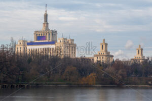 The House of the Free Press in Bucharest seen from Herestrau Park or King Mihai I park. Romania - Starpik Stock