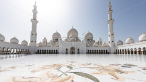 The famous Sheikh Zayed Grand Mosque from Abu Dhabi, United Arab Emirates. A unique toursitic atraction in UAE, that was inspired from middle East's most beautiful mosques - Starpik Stock