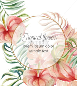 Tropical flowers and leaves card with place for text. Watercolor. Vector - Starpik Stock