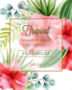 Tropical flowers and leaves herbarium with place for text. Vector - Starpik Stock