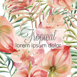 Tropical leaves card with place for text. Watercolor. Vector - Starpik Stock