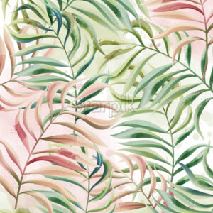 Tropical leaves pattern. Red and green color. Watercolor. Vector - Starpik Stock