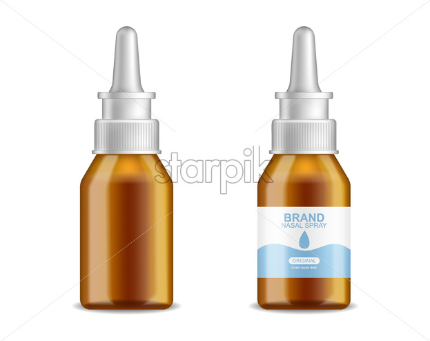 Tubes medicine vector realistic. Advertise banner medical pile of different treatment 3d illustration - Starpik Stock