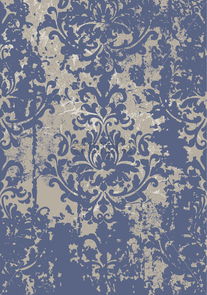 Vintage damask grunge ornament. Floral decoration. Baroque design. Blue and gray color. Vector - Starpik Stock