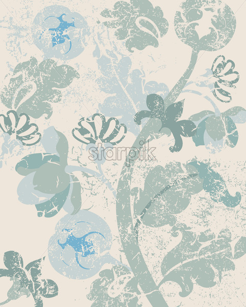 Vintage floral background with grunge style. Pale green and beige color. Vector - Starpik Stock