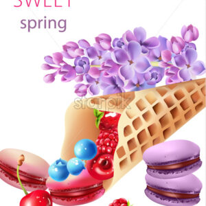Waffle cone filled with blueberry, cherries, raspberries, strawberries and macarons, with some lilac flowers. Watercolor Vector - Starpik Stock