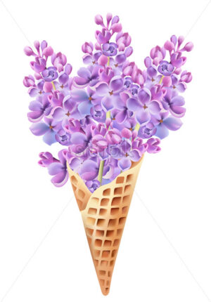 Waffle cone filled with lilac flowers. Beginning of summer idea. Vector - Starpik Stock