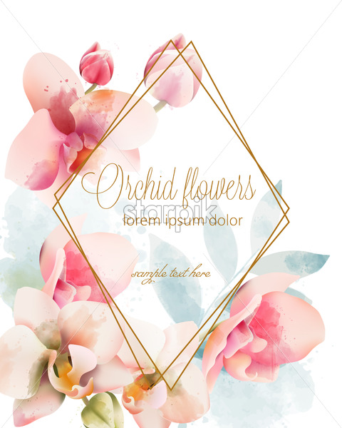 Watercolor orchid bouquet with golden frame . Watercolor Spring flowers. Place for text. Vector - Starpik Stock