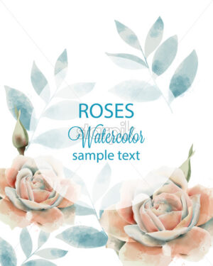 Watercolor roses and leaves card with place for text. Blue and beige color. Vector - Starpik Stock
