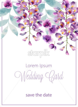 Wedding card with lilac flowers and leaves. Place for text. Watercolor. Vector - Starpik Stock