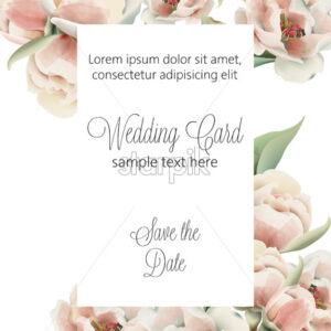 Wedding card with pale pink peonies and place for text. Watercolor. Vector - Starpik Stock