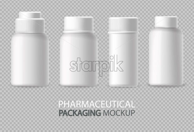 White bottles Vector realistic isolated. Advertise empty container. Cosmetics, Medicine or tooth paste 3d detailed illustration - Starpik Stock