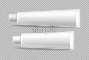White tubes Vector realistic isolated. Advertise empty container. Cosmetics, Medicine or tooth paste 3d detailed illustration - Starpik Stock