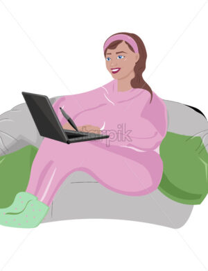 Young happy girl in pink pajama and green socks working on her laptop with graphic pen. Sitting on bean bag. Working from home idea. Vector - Starpik Stock