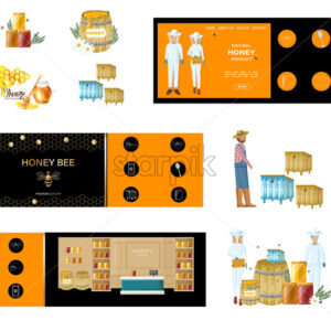 Beekeepers Vector honey banner. Honey theme label poster templates - Starpik Stock