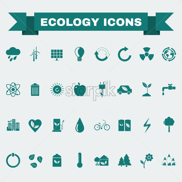 Ecology Icons Set, Nature Symbols. Green energy. Forms and types of renewable energy source. Vector digital illustration. - Starpik Stock