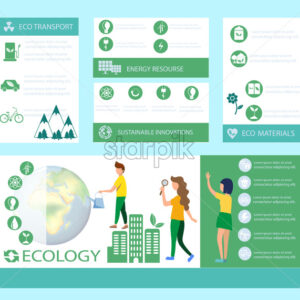 Ecology banner set template Vector. Earth, energy, Eco transport and sustainable materials. Green info graphic icon - Starpik Stock