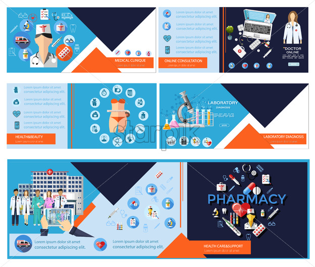 Medical health care banner template with icons. Online consulting business develop info graphic. Pharmacy design flyer layout - Starpik Stock