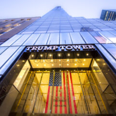 NEW YORK, USA – SEPTEMBER 19, 2019: Entrance to the Trump Tower. Vibrant colors - Starpik Stock