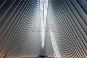 NEW YORK, USA – SEPTEMBER 19, 2019: Interior of the World Trade Center Station. Vibrant colors - Starpik Stock