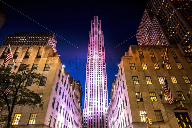 Rockefeller Center with illumination at night in New York, USA. Vibrant colors - Starpik Stock