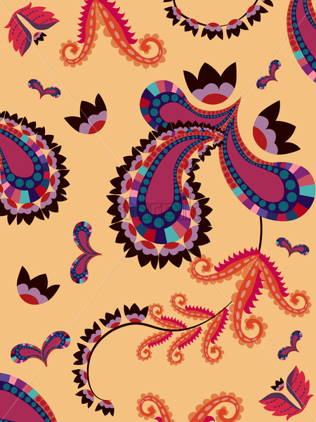 Abstract oriental style floral geometric pattern with flowers and ornaments shapes. Vector - Starpik Stock