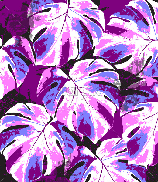 Abstract summer monstera leaves pattern. Bright pink and blue color splash. Vector - Starpik Stock