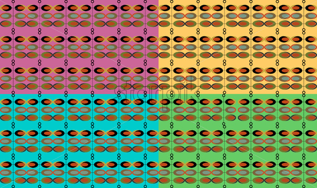 Abstract vintage design pattern made from circles and ovals. Green, yellow, red and blue color. Vector - Starpik Stock