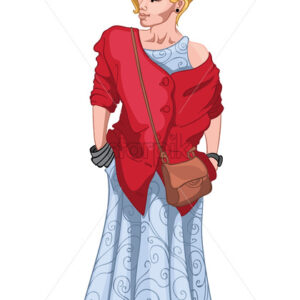 Adult blonde woman in light blue dress, red jacket, with a bag on her shoulder. Elegant and stylish Vector - Starpik Stock