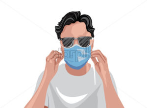 Adult in white t-shirt wearing protective medical mask and sunglasses. Vector - Starpik Stock