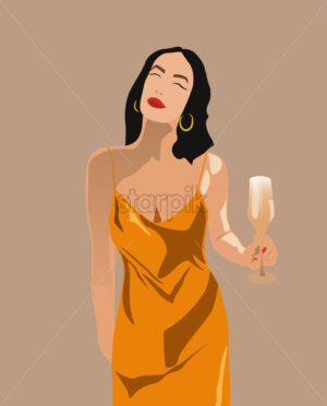 Adult woman in yellow dress with red lips, nails, golden earrings and a glass of champagne in her hand. Wishing something with closed eyes. Vector - Starpik Stock