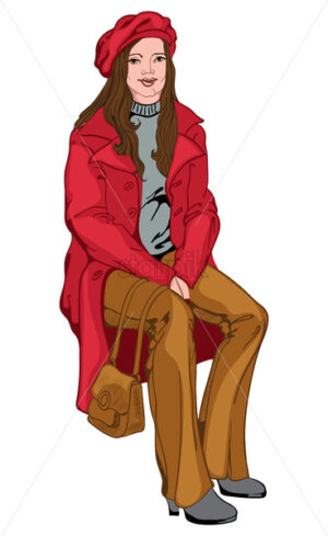 Adult woman with joyful facial expression dressed in red beret and coat, brown pants and handbag, gray sweater and shoes. Brunette with green eyes. Vector - Starpik Stock