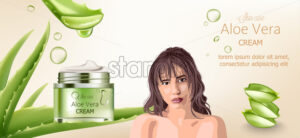 Aloe vera cream for skin care. Bare brunette woman advertising. Aloe background with place for text. Vector - Starpik Stock