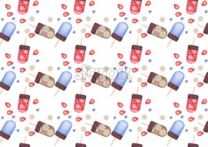 Banana, blueberry and strawberry ice cream pattern. Vector - Starpik Stock