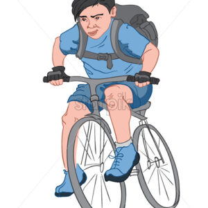Black haired boy with a serious facial expression, dressed in blue clothes with a big black backpack riding his bike. Vector - Starpik Stock