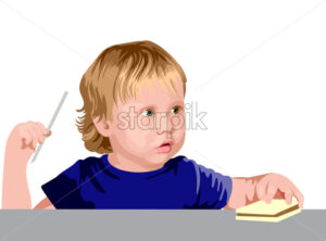 Blonde boy with green eyes in blue shirt looking surprised while holding a straw and a sandwich. Vector - Starpik Stock