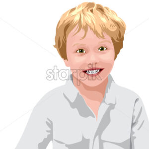 Blonde haired boy with green eyes in white shirt smiling. Vector - Starpik Stock