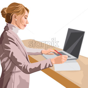 Blonde woman dressed in pink jacket and sweater working at her laptop while standing. Vector - Starpik Stock